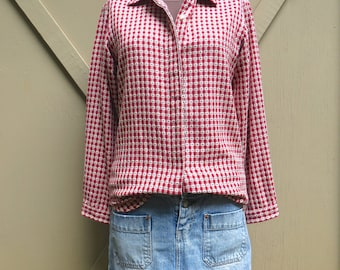 90s vintage Woolrich Red and White Checked Woven Cotton Shirt