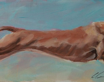 Pharaoh Hound, Running, Chasing, Rabbit, on Blue, Sky Background Large Original Painting by Clair Hartmann