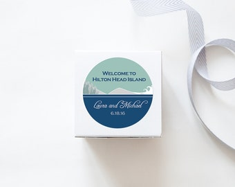 Dunes and Grasses Coastline, Custom Wedding Welcome Stickers - SKYLINE DESIGN