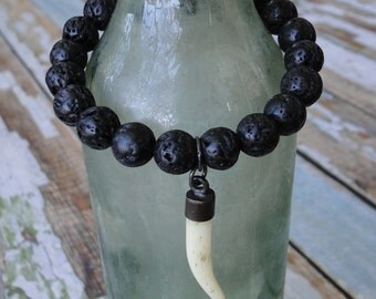 BONE  TUSK BRACELET, yoga, boho, tribal, edgy
