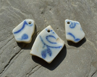 Genuine Beach Sea China - Blue White - Drilled Pendant and Earrings set, Jewelry Supply