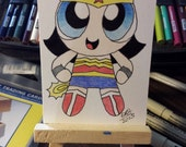 Original drawing ACEO Power Puff Wonder Woman