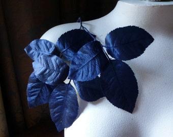 Navy Vintage Leaves Silk Millinery  for Bridal, Floral Design, Hats, Fascinators ML 141