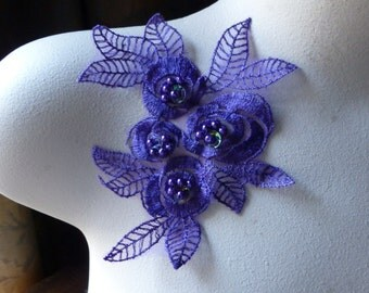 PURPLE Beaded Lace Flower Applique in Organza for Lyrical Dance, Garments, Costumes CA 615pur