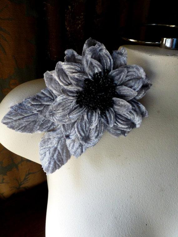 GRAY Velvet Millinery Flower for Hats, Corsages, Headbands, Home Decor MF 120
