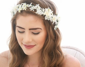 Flower Crown of Vintage Flowers Floral Headband Bridesmaids Hair Accessory Flower Girl Halo Boho Music Festival Flower Crown