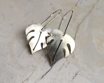 Frawn Dangles. Silver Leaf Earrings. Hand Cut Leaves. Tropical. Large Silver Earrings. Long Dangles. Statement Earrings. Sterling Hooks.