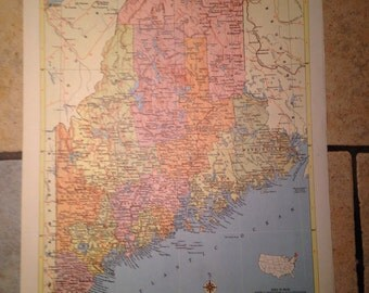 Political Map of Maine Antique Illustration