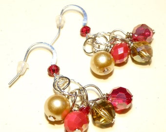 30% OFF -- Shades of Red and Gold Dangles Silver Earrings
