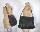 BLACK Leather Market Tote Bag / Weekender shopper
