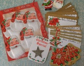 Vintage Christmas Seals and Gift Tags Santa with Cotton Beard Glitter Star
