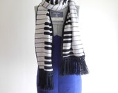Vintage 80s keyboard piano scarf OS UNISEX