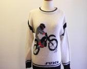 Men's novelty MOTORCYCLE novelty sweater UNISEX sz. Medium