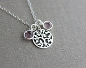 Sterling silver family tree necklace, with sterling silver chain and Swarovski Crystal birthstones, Grandma necklace, children birthstones