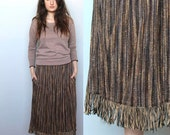 reserved for Y -- unearthed -- vintage 70's woven and fringed skirt size S/M