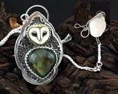 Reserved Wee Owl Sterling Silver,  Porcelain barn owl custom necklace SRA Laura Mears focal