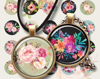 1 inch (25mm) and 30mm images FLORAL FIESTA for pendants, bezel trays, glass cabochons, cameo settings, Printable download by Art Cult