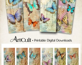Printable download BUTTERFLIES Bookmarks Digital Collage Sheet Paper Goods vintage images gift tags Craft Supply ArtCult printables