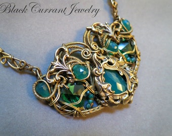 Green Onyx and Brass Art Nouveau Necklace