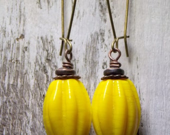 Yellow Glass Bead Earrings Dangle Earthy Earrings Boho Chic Earrings  Copper Earrings Jewelry Mixed Metal Brass Earrings