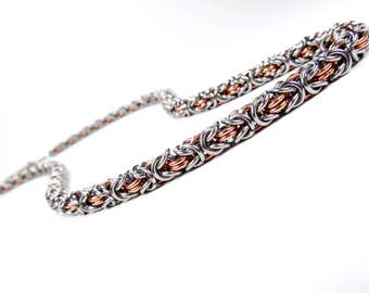 Byzantine Chainmaille Necklace - Stainless Steel & Copper