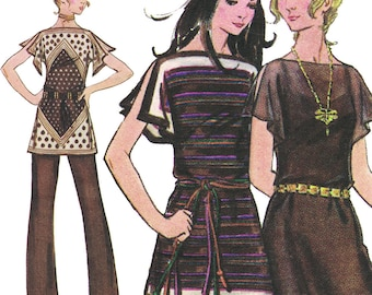 The Easy Scarf Dress Plus Pants! Vintage 1970s Butterick Sewing Pattern 5941, Misses' Dress and Pants, Size Small, Uncut with Factory Folds