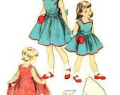 Vintage 1950s Girls Wrap Apron Dress Square Neckline Back Ties Advance 5942 Sewing Pattern Size 8 Bust 26 Inch Walkaway