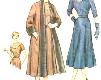 1950s Vintage Coat and Scallop Bodice Neckline Dress Sewing Pattern Simplicity 8347 Misses Size 16 Bust 34 Reversible Cut Complete