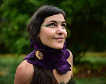 Felt Purple Scarf-Pixie Woodland Neck Warmer-Cowl-Scarf-Shawl-Purple Wool-Pixie Neck Warmer-Plum Purple Scarf-Felt Wool- OOAK