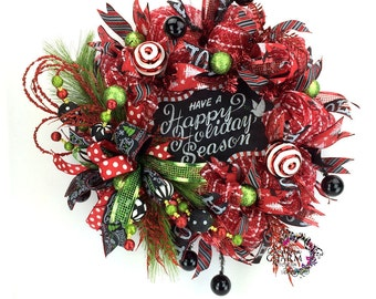 Have a Happy Holiday Season Wreath, Red Black Lime Green Deco Mesh Christmas Wreath, Chalkboard Theme Christmas Wreath, Christmas Door