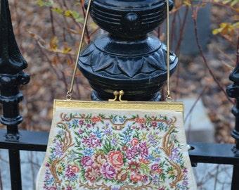 Vintage Purse, Embroidered Tapestry, Saks Fifth Avenue Purse, Petit Point Purse,  Evening Purse, Downton Abbey Purse, Floral Purse,