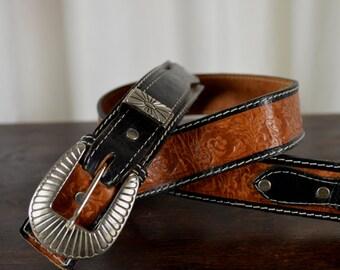 Western Belt, Hand Carved Belt, Two Toned Belt,  Gift for Him, Buck Stitched Belt, Interchangeable Buckle, Rockabilly Belt