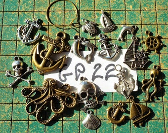 17 nautical charms, anchors, octopus, ships, dolphin, sea turtle, skull crossbones, pirate, kraken, clam shell, diecast metal, gp22
