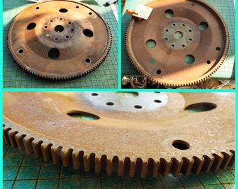 Large Gear, industrial wall hanger, 12 inch car flex plate, flywheel, found art metal sculpture, recycle, upcycle, old car parts