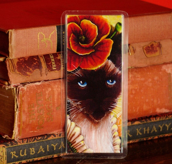 Poppy Cat Bookmark, Flower Fairy Cat Art Bookmark