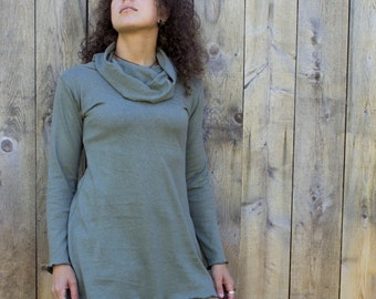 Hemp Cowl Neck Long Sleeve Shirt - Hemp and Organic Cotton Knit - Made to Order - Choose Your Color