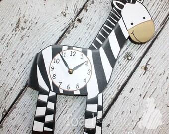 Zebra Wooden WALL CLOCK for Kids Bedroom Baby Nursery WC0069
