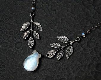Rainbow Moonstone Necklace, Leaf Necklace - Moonwood by CircesHouse on Etsy
