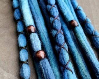 10 Deep Blue Tie-Dye Wool Synthetic Dreadlock *Clip-in Extensions Boho Dreads Hair Wraps & Beads Custom