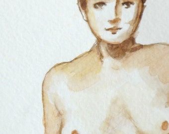 nude watercolor woman original figure wall art