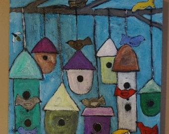 FREE SHIPPING, Sculpted Clay, Textural, Folk Art Painting, Bird, Birdhouse