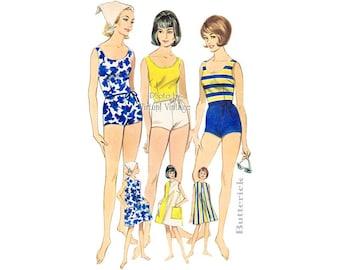 Retro Bathing Suit Pattern Butterick 3115 1960s Swimsuit & Beach Dress Vintage Sewing Patterns, Uncut