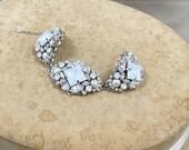 Wedding Bracelet , Cuff Bracelet , Bridal Bracelet ,Ivory Pearl Bracelet ,Vintage Wedding Bracelet, White Opal Swarovski Statement Bracelet