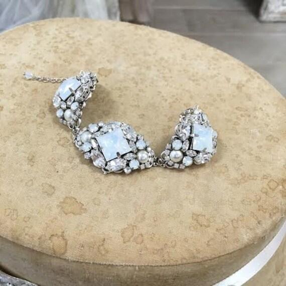 Bridal Cuff Bracelet , Wedding  Bracelet, Crystal Cuff Bracelet, White Opal Swarovski Crystal Bracelet, Statement Bracelet ,Wedding Jewelry