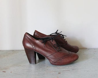 vintage BRONTE tooled leather oxford heels size 10 shoes