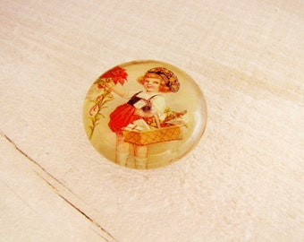 Refrigerator Magnet Home Magnet Office Magnet Victorian Girl with a  Christmas Basket Home decor M 6
