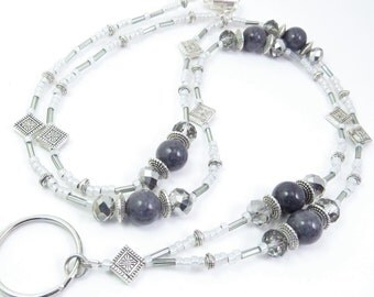 Badge Lanyard, ID Holder, Key Chain Necklace - Grey Jade and Silver Crystal Mirrored Glass with Silver Accents