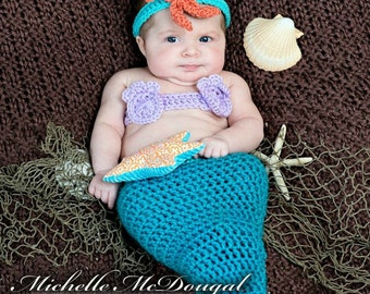6 to 9 month Turquoise Mermaid Tail Sitter Photo Prop Costume
