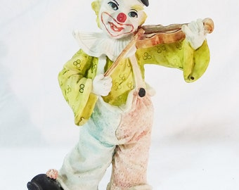 Vintage resin clown hobo playing on violin home decor collectible