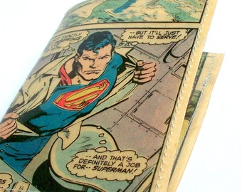 Superman comic mini wallet UPCYCLED Superman vintage comic book page RECYCLED into a mini wallet gift card holder business cardcase